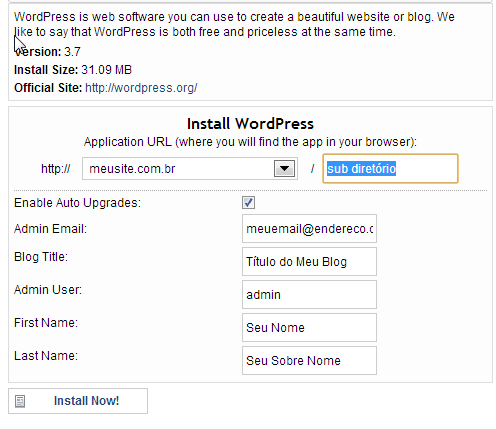 Instalador do WordPress
