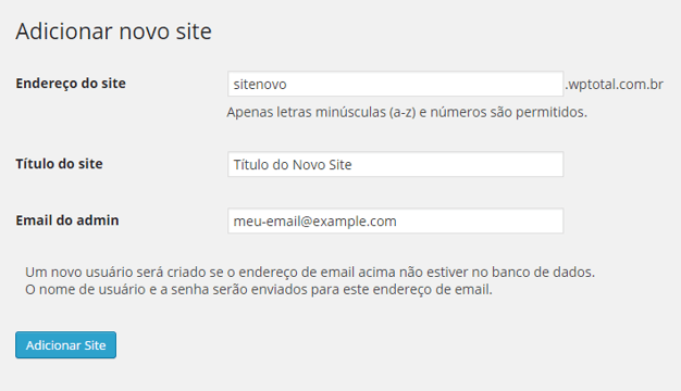 Wordpress Multisites - Adicionar novo site
