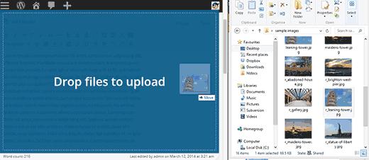 Basta arrastar as imagens para o editor para upload
