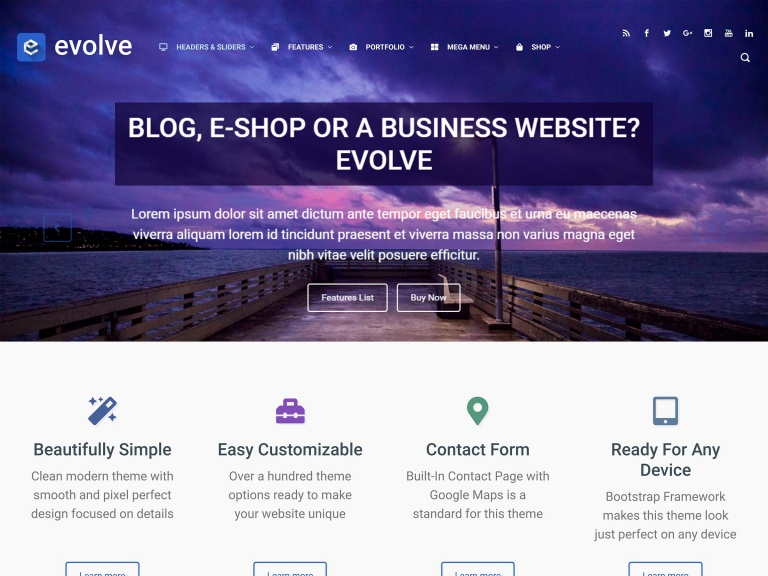 evolve tema free wordpress