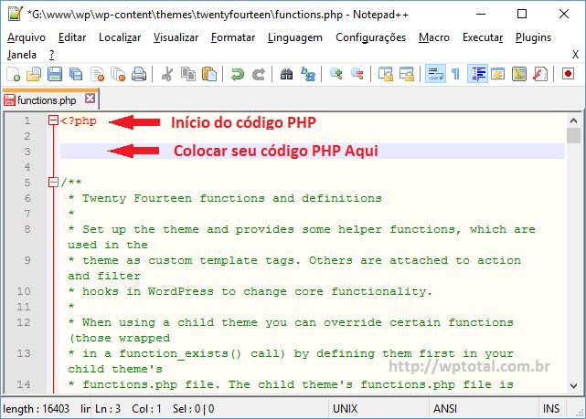editando arquivo functions do tema