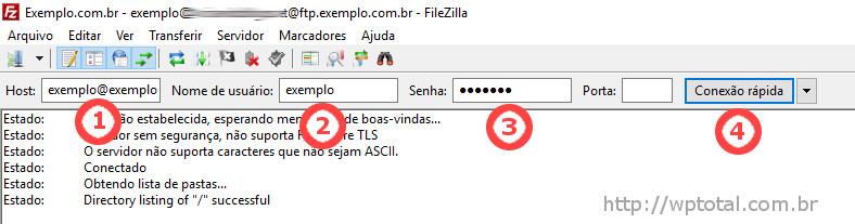 informando dados acesso filezilla
