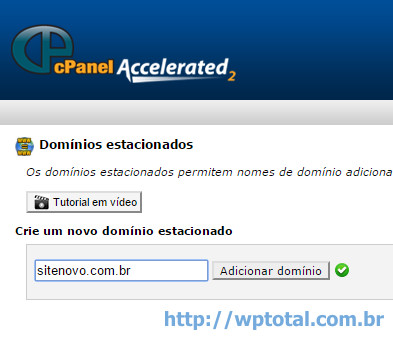 cpanel add dominio estacionado