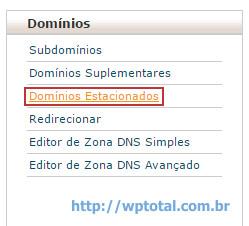cpanel menu dominios