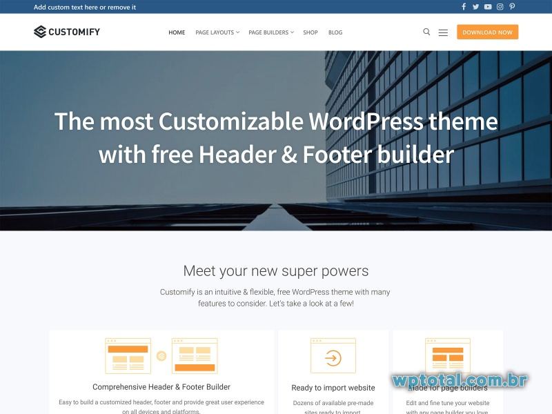 customify tema wordpress