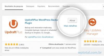 ativando plugin de backup wordpress google drive