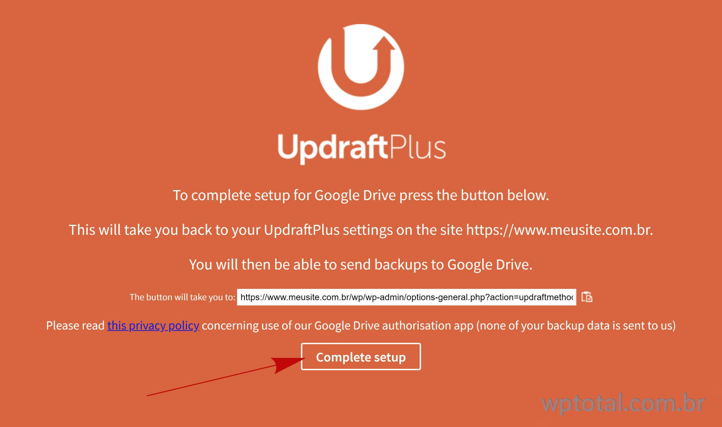 clique no botão para completar instalação