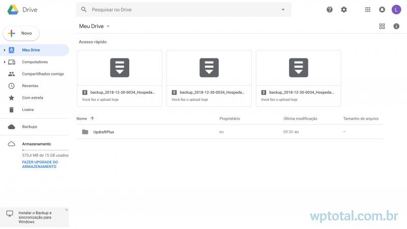 colocando backup wordpress no atuomático para google drive