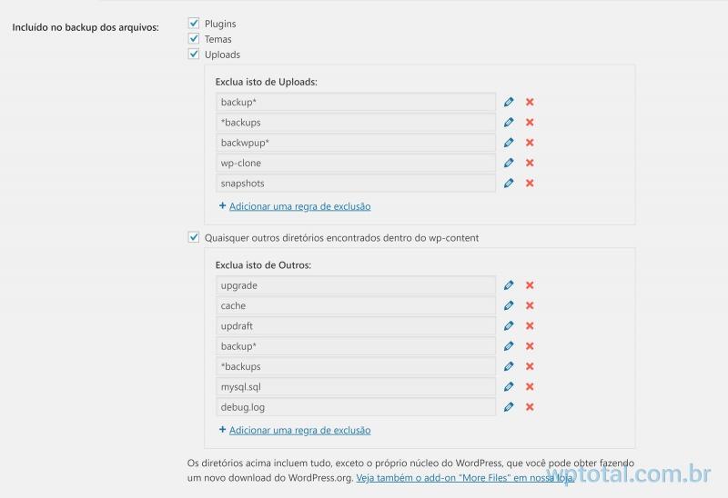 configurando diretórios backup wordpress automatico