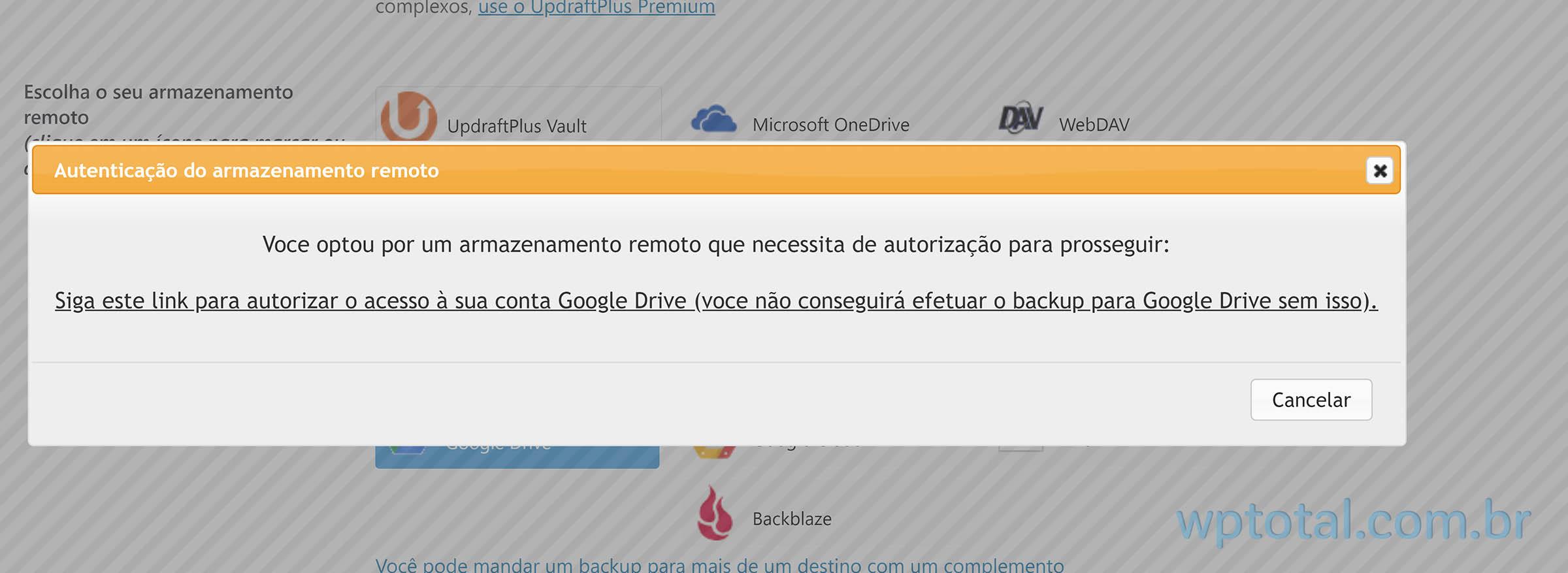 confirmar autorização google drive