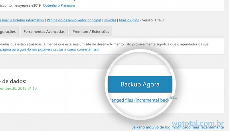 iniciando backup wordpress manual