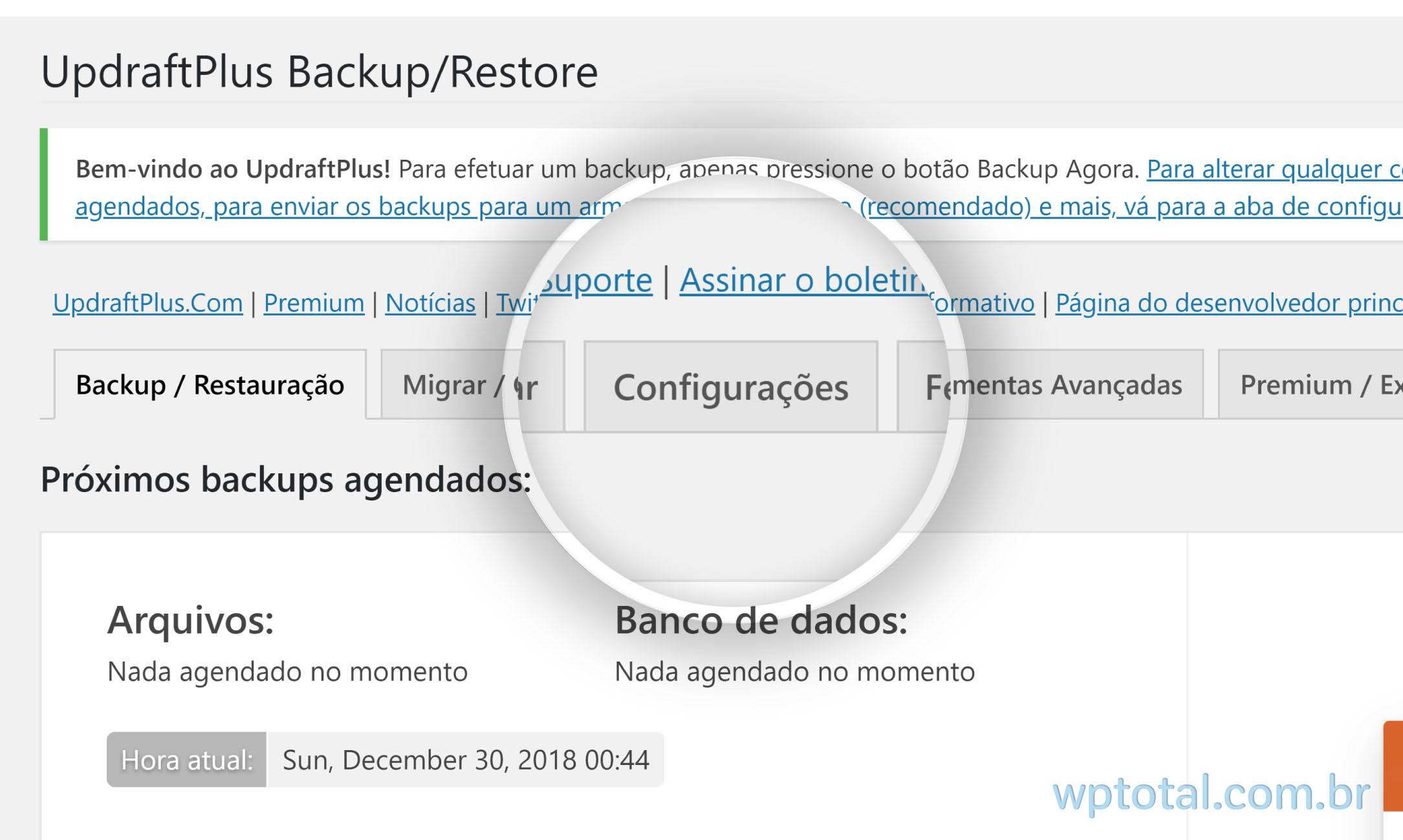 iniciando configuração plugin de backup wordpress