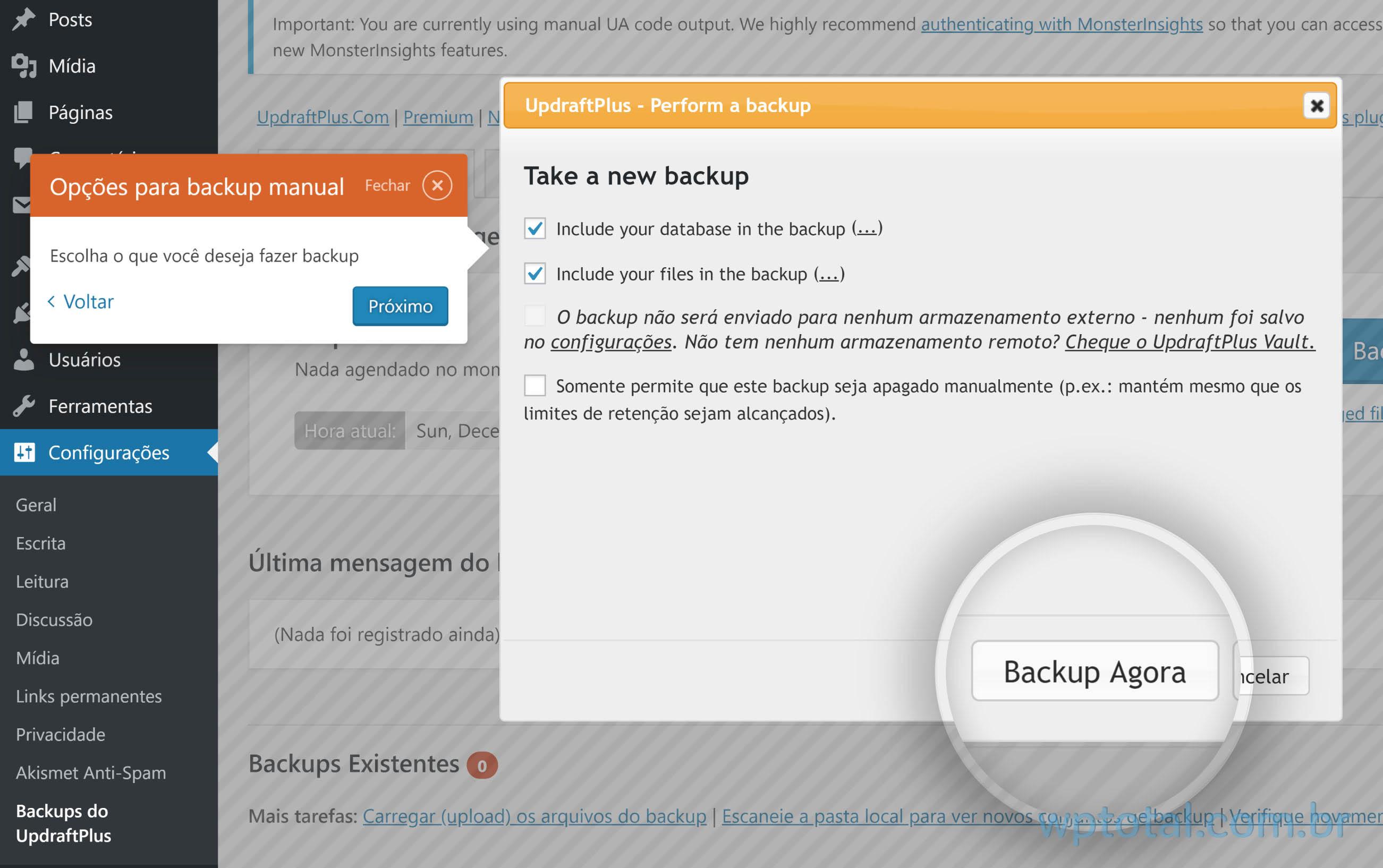 iniciar backup wordpress manual