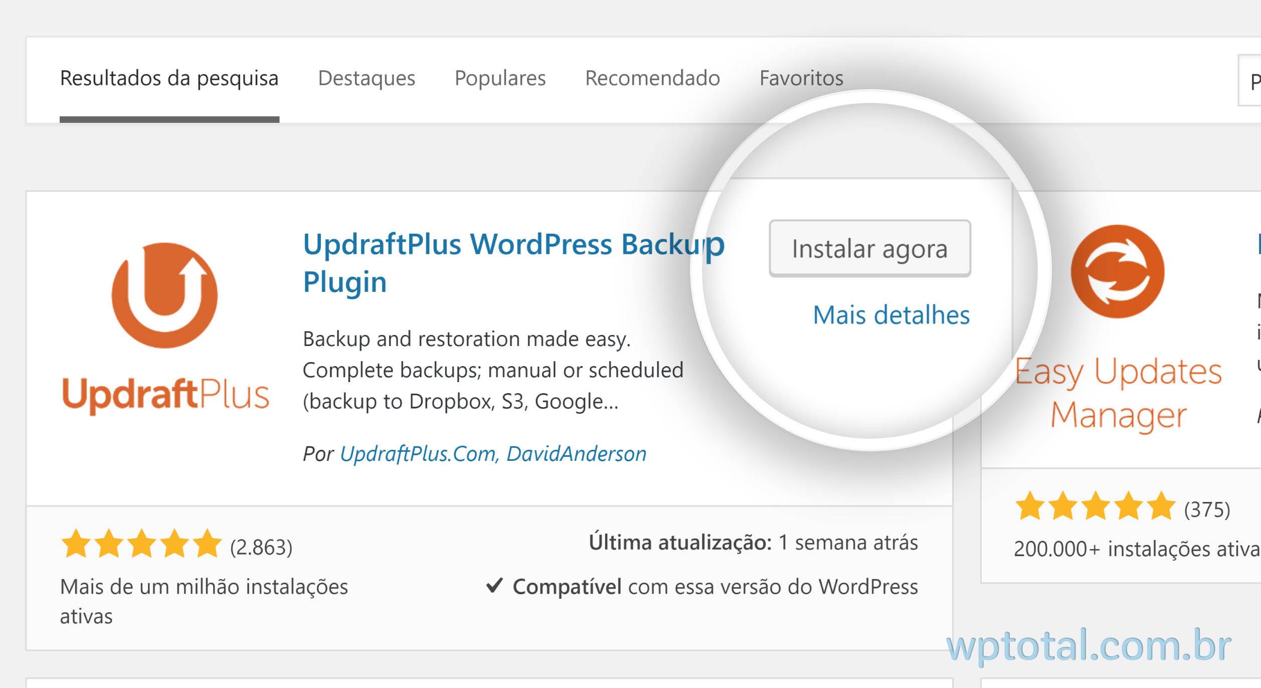 instalando plugin de backup wordpress