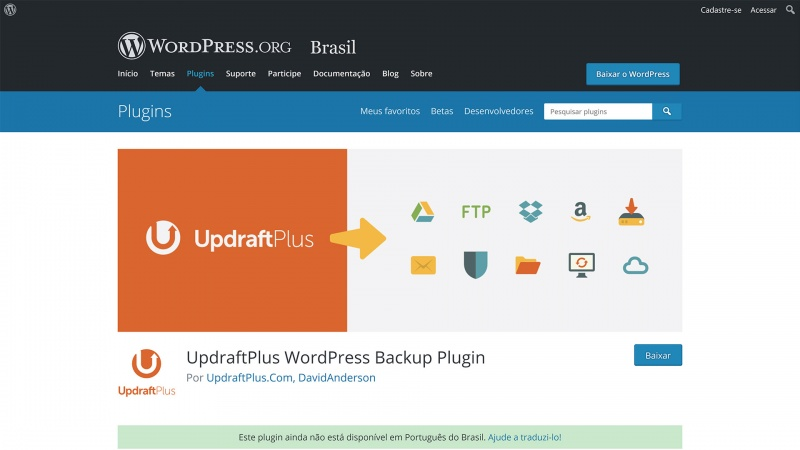 plugin updraftplus para backup wordpress