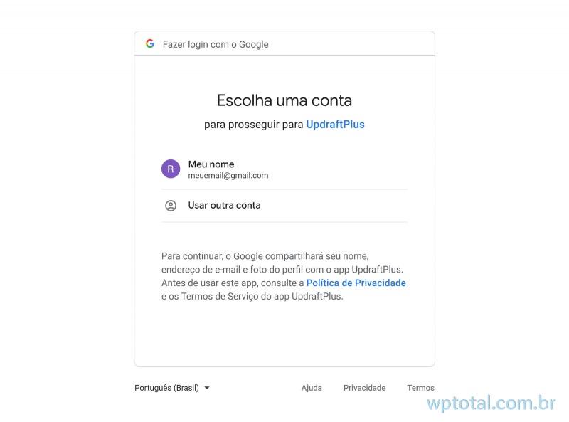 selecione conta do google drive para salvar arquivos