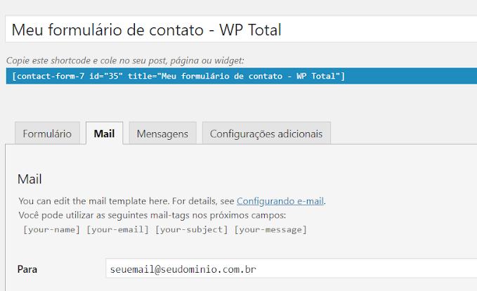 formulario de contato campo de email