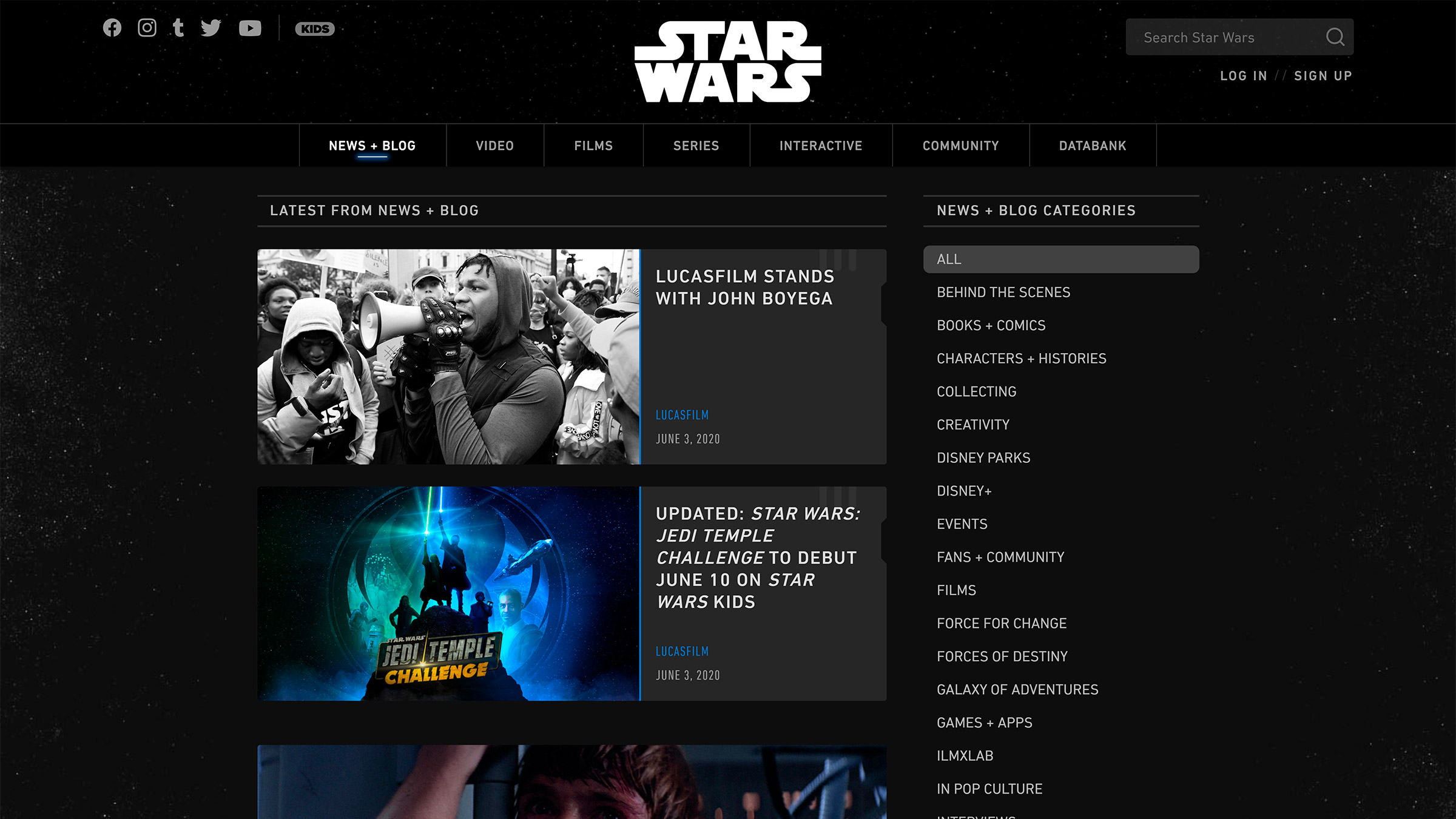 site desenvolvido com wordpress star wars