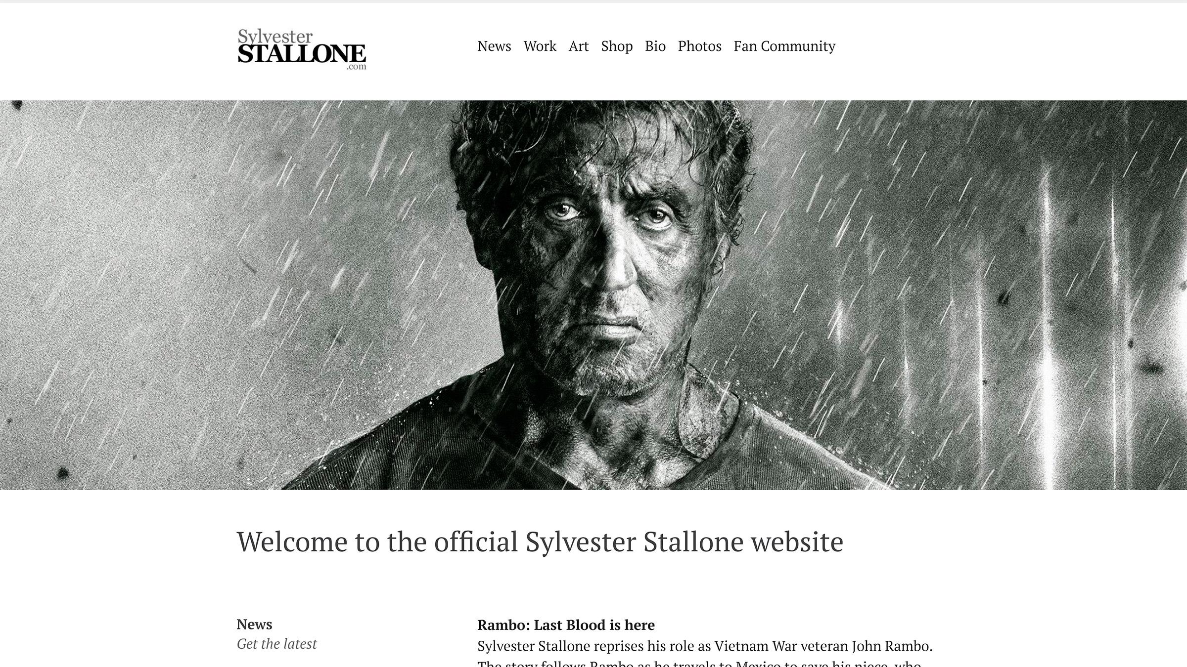 sylvester stallone site construido com wordpress