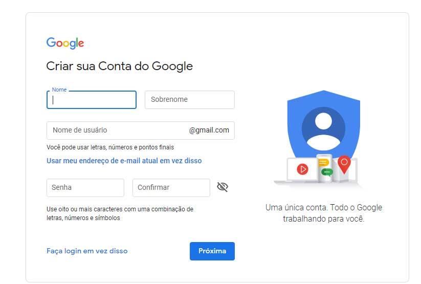tela criar conta no google
