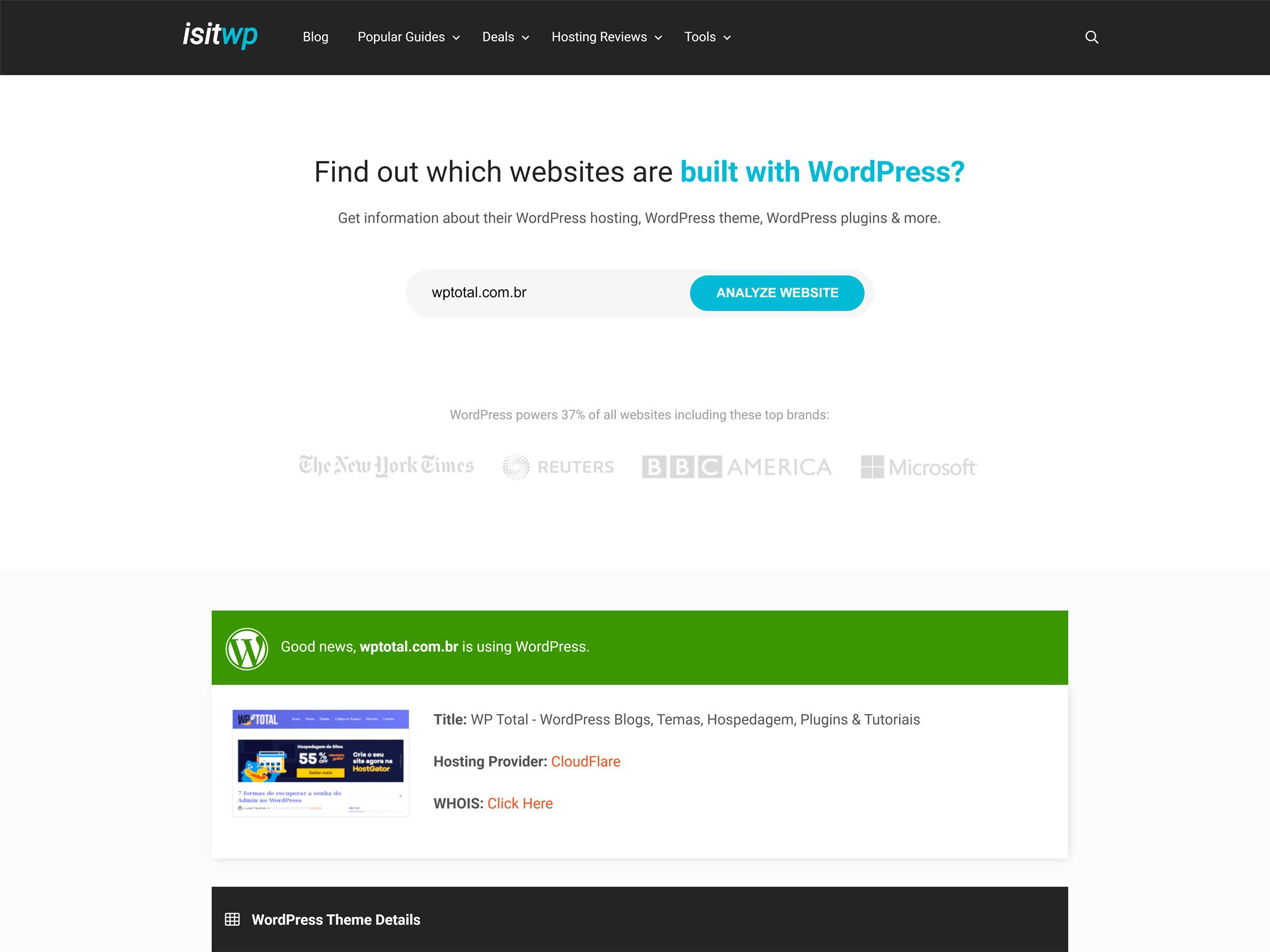 como saber se o site usa wordpress com uma ferramenta