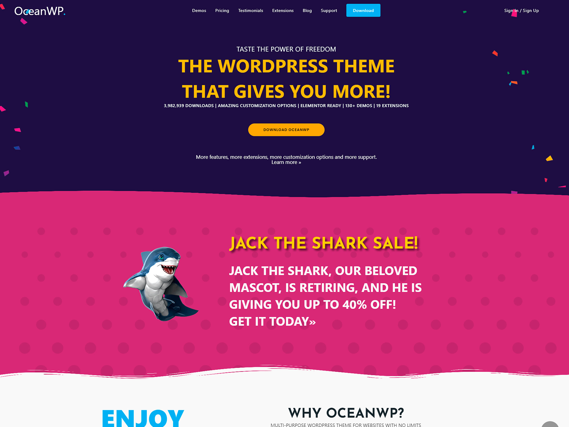 oceanwp one page template