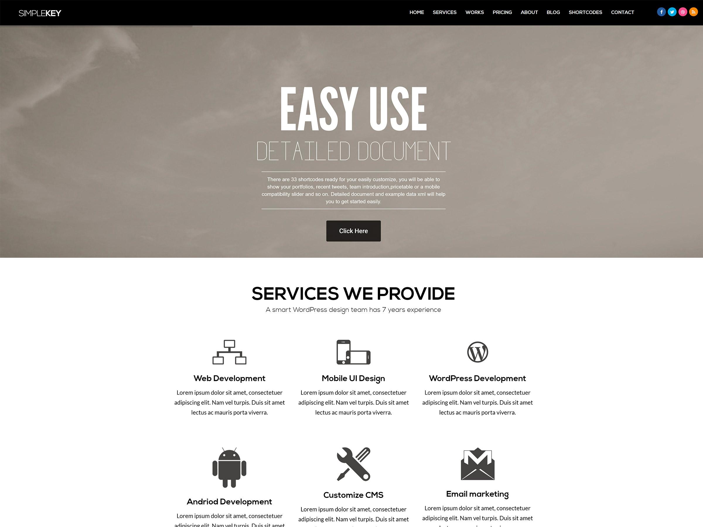 simplekey one page tema