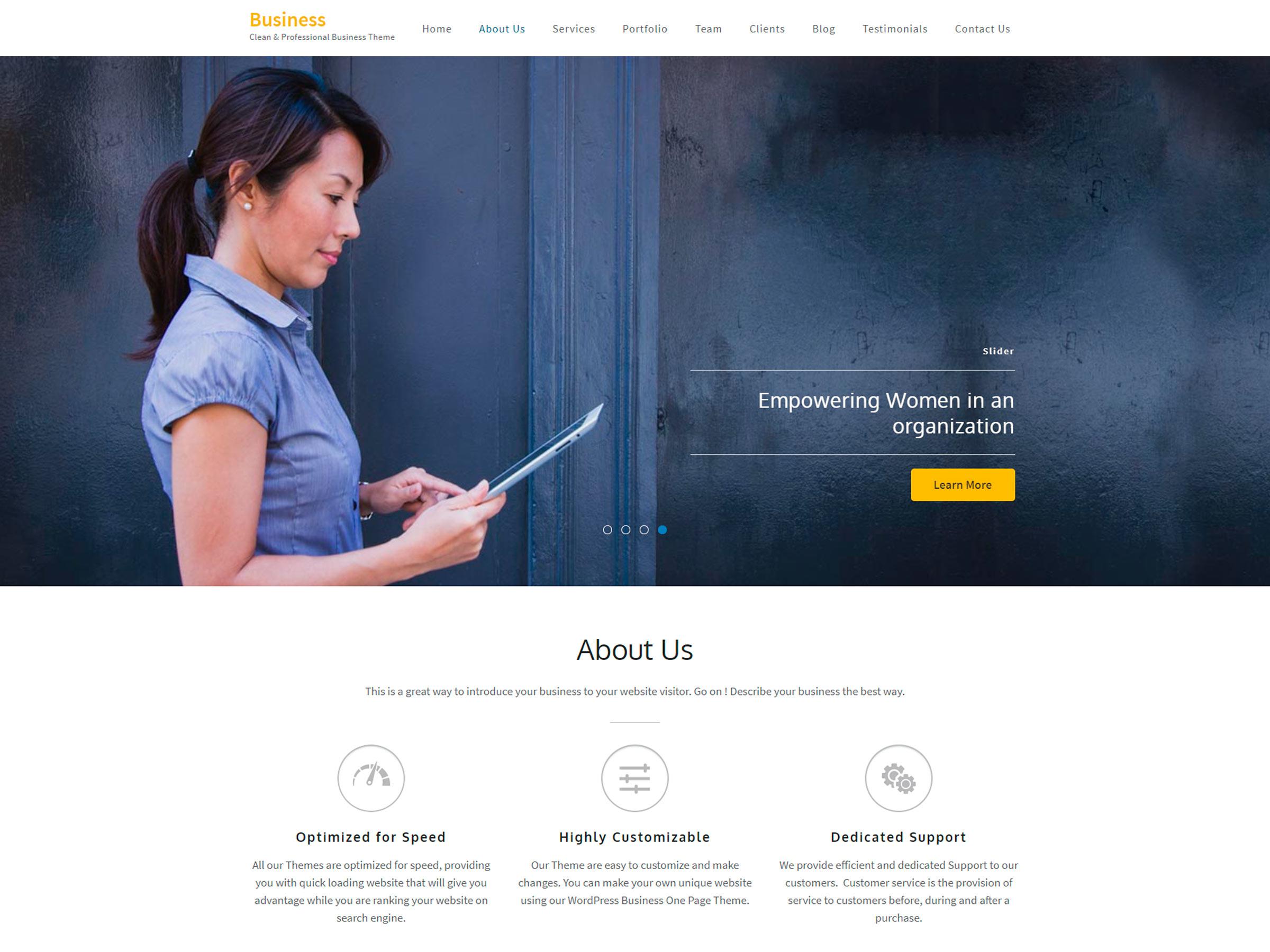 tema business one page wordpress