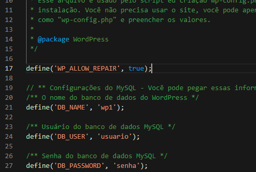 wordpress reparar base de dados