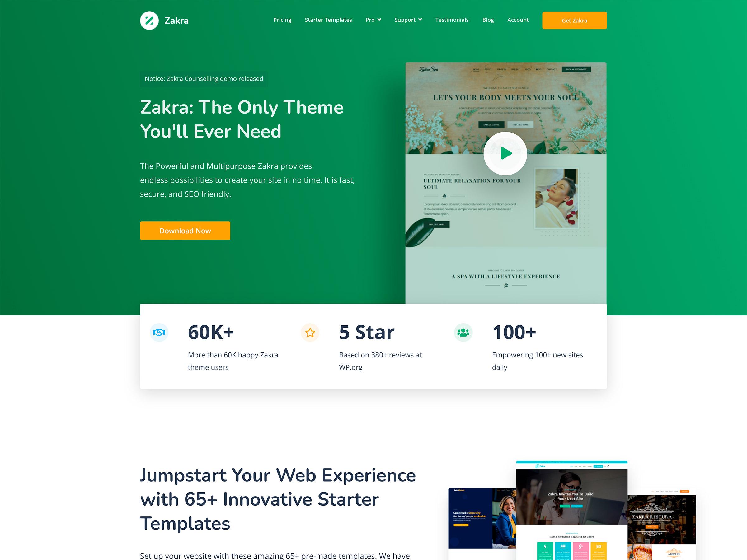 zakra theme one page wordpress
